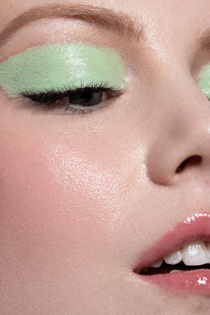 Alexandra Rayne of Devojka Models, close up with green cream eyeshadow.
